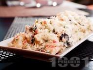 Салата от варени картофи, кисели карставички, рулца от раци, маслини и майонеза